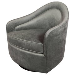 Mid-Century Modern Swivel Chair in Smoked Platinum Velvet by Milo Baughman