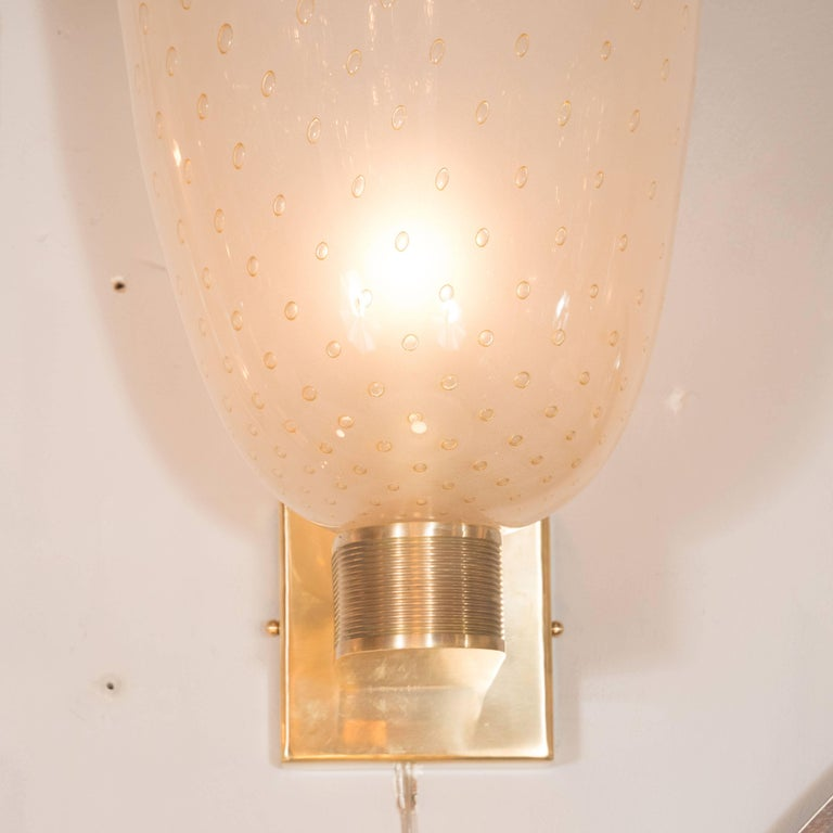 Midcentury Brass, 24-Karat Gold and Murano Glass Sconces by Barovier e Toso In Excellent Condition For Sale In New York, NY