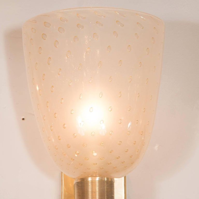 Italian Midcentury Brass, 24-Karat Gold and Murano Glass Sconces by Barovier e Toso For Sale