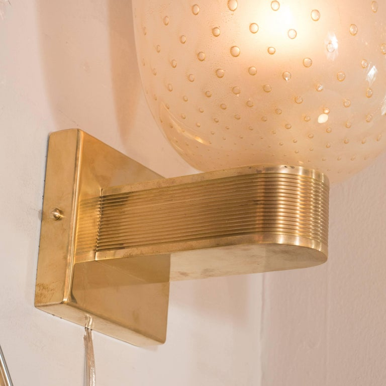 20th Century Midcentury Brass, 24-Karat Gold and Murano Glass Sconces by Barovier e Toso For Sale
