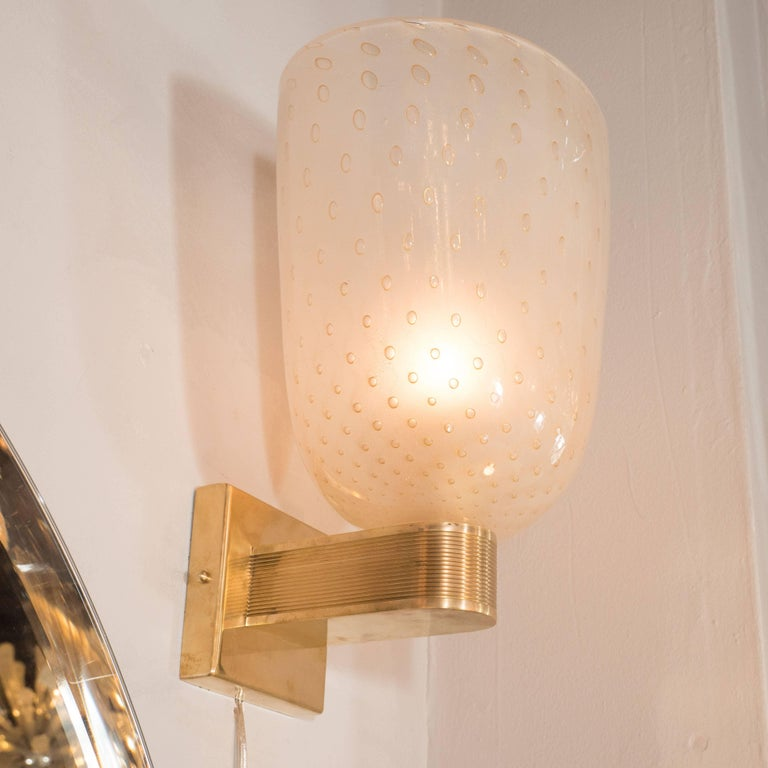 Mid-Century Modern Midcentury Brass, 24-Karat Gold and Murano Glass Sconces by Barovier e Toso For Sale