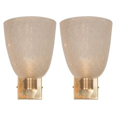 Midcentury Brass, 24-Karat Gold and Murano Glass Sconces by Barovier e Toso