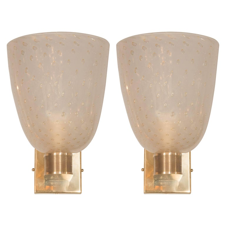 Midcentury Brass, 24-Karat Gold and Murano Glass Sconces by Barovier e Toso For Sale