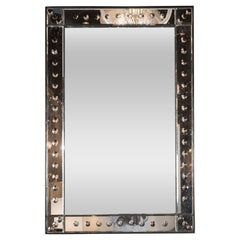 French Midcentury Mirror with a Raised Beveled Border with Circular Inlays