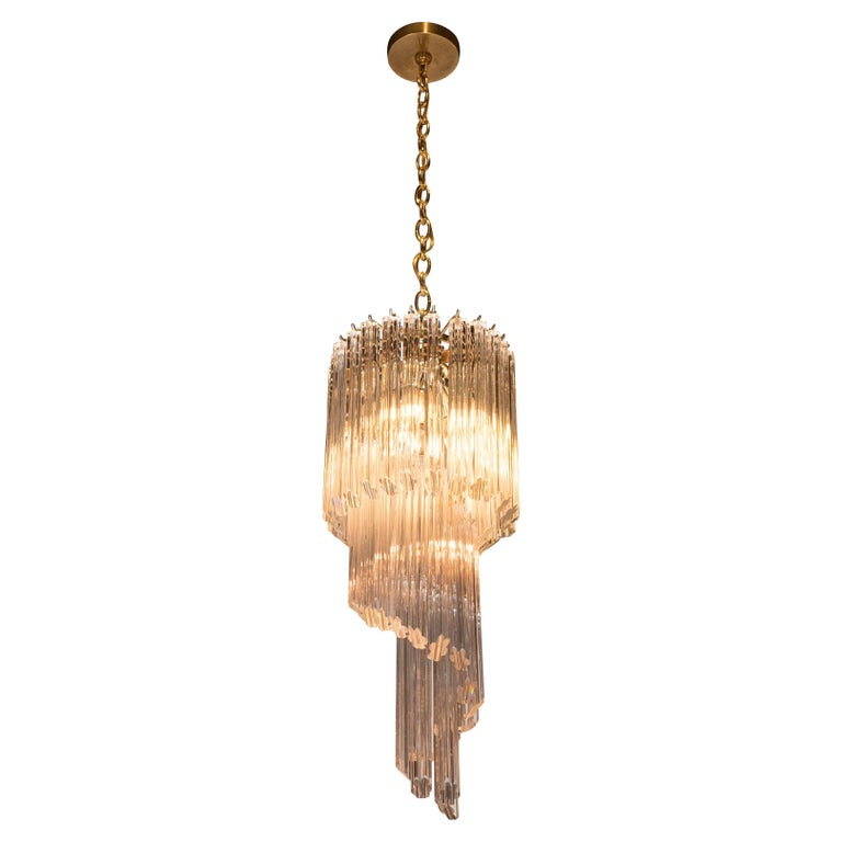 Mid-Century Modern Three-Tier Cut Triedre Camer Glass and Brass Chandelier