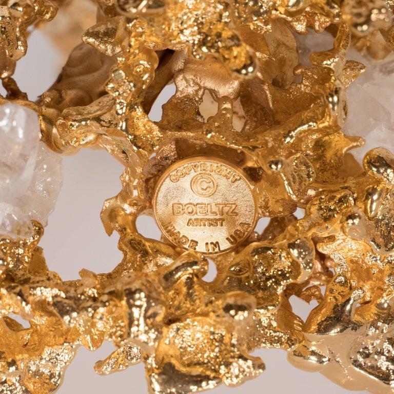 Pair of Single Branch 24-Karat Gold-Plated Bronze Candlesticks by Claude Boeltz For Sale 3