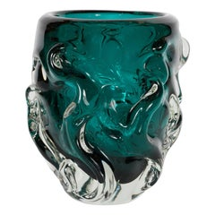 Handblown Sculptural Murano Vase with in Translucent and Teal Glass