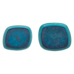 Pair of Mid-Century Modern Francis Joseph Von Tury Cerulean Blue Ceramic Trays