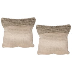Pair of Textural Modernist Pillows in Taupe with Metallic Silver Thread