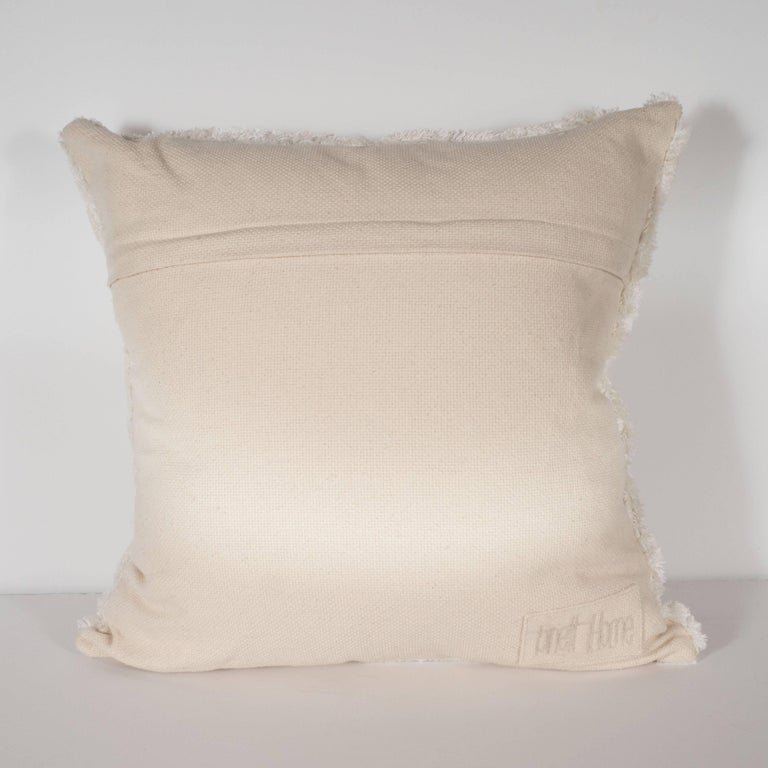 Contemporary Modernist Textural Cotton Cream Pillow with White Geometric Patterns Throughout For Sale