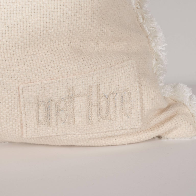 Modernist Textural Cotton Cream Pillow with White Geometric Patterns Throughout For Sale 1