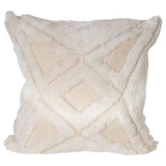 Modernist Textural Cotton Cream Pillow with White Geometric Patterns Throughout