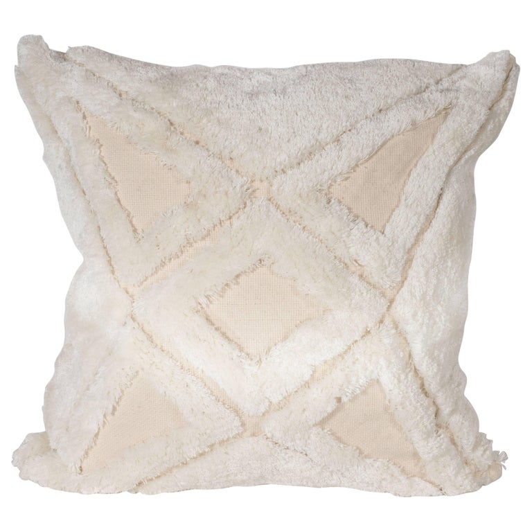 Modernist Textural Cotton Cream Pillow with White Geometric Patterns Throughout For Sale