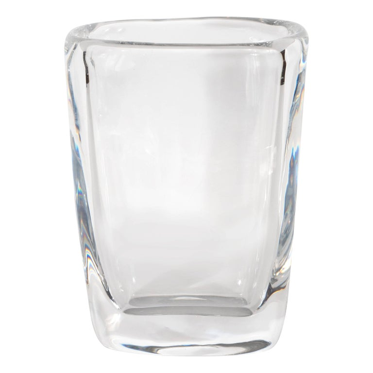 Mid-Century Modern Oblong Translucent Glass Vase by Orrefors of Sweden