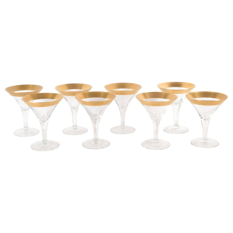 Set of Eight Mid-Century Modern Martini Glasses/Champagne Flutes, Dorothy Thorpe