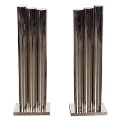 Custom Modernist Tubular Polished Nickel Andirons