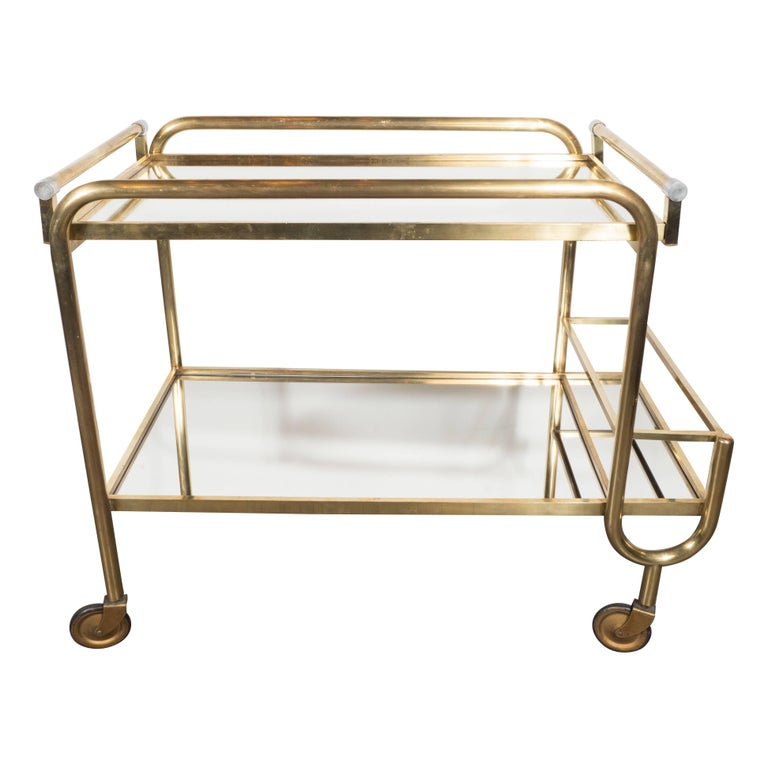 Italian Mid-Century Modern Brass and Mirrored Glass Bar Cart with Casters
