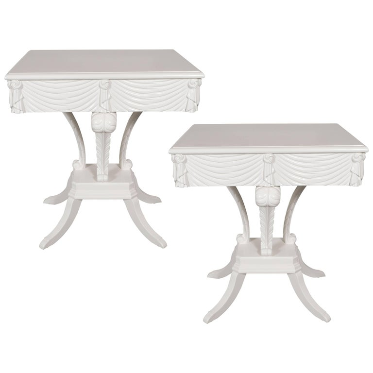 Pair of Hollywood Regency Grosfeld House White Lacquer End Tables or Nightstands