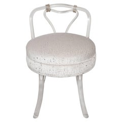 Hollywood Regency Midcentury Lucite Stool with Gauffraged Velvet Seat