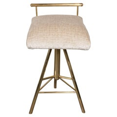 Mid-Century Modern Swivelling Brass Stool with Gauffraged Crocodile Velvet