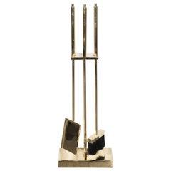 Custom Modernist Five-Piece Brass Fire Tools Set