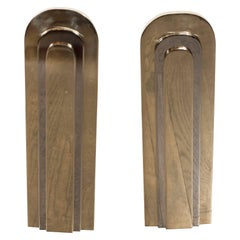 Modernist Andirons in Polished Brass and Nickel