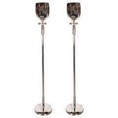 Pair of Mid-Century Modern Nickel Floor Lamps/ Torchieres, Style of Parzinger