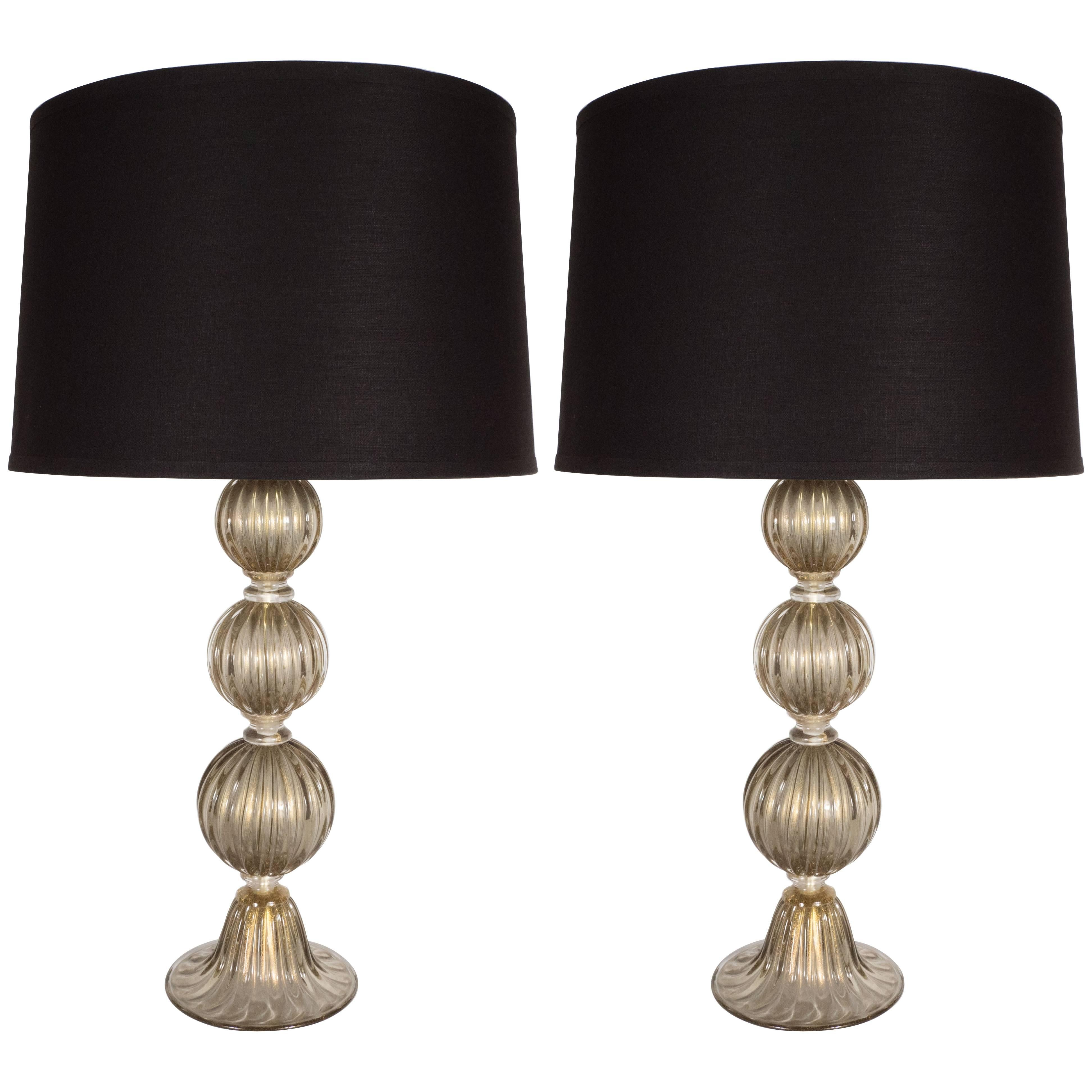 Pair of Modernist Handblown Murano Smoked Glass Table Lamps, 24kt Gold Flecks