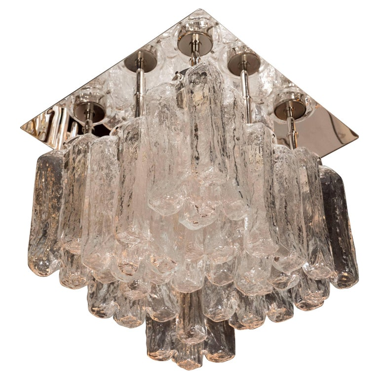 Modernist Translucent Ice Glass Flush Mount Chandelier with Polished Chrome Base