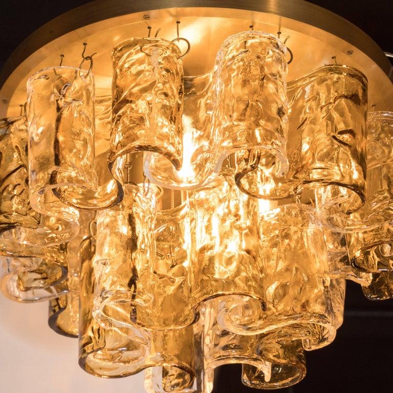 Italian Mid-Century Modern Topaz Wave Glass Flush Mount Chandelier by Mazzega For Sale 1