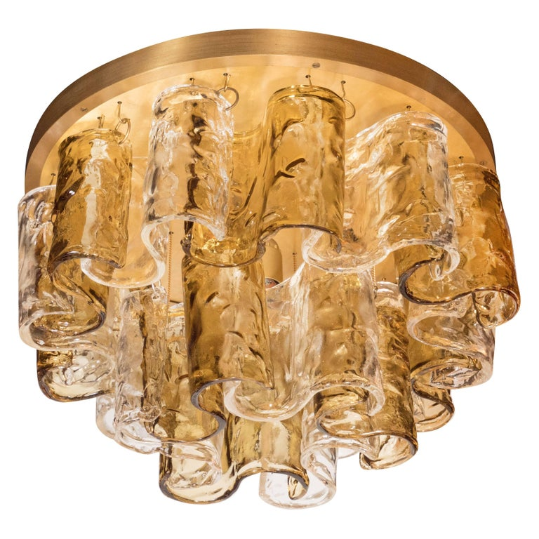 Italian Mid-Century Modern Topaz Wave Glass Flush Mount Chandelier by Mazzega For Sale