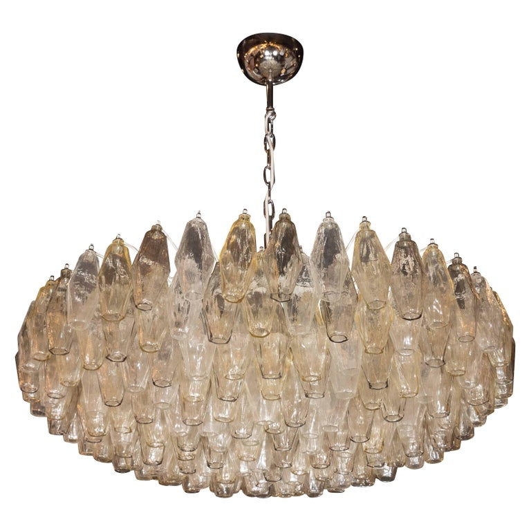 Modernist Murano Polyhedral Venini Chandelier, Nickel Fittings in Smoked Topaz