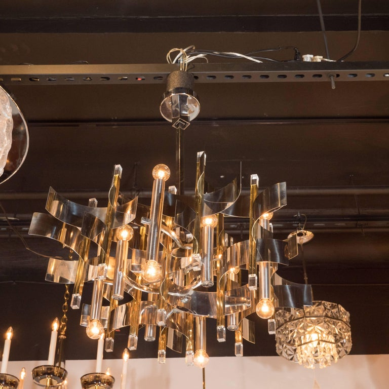 Late 20th Century Italian Mid-Century Modern Brass, Chrome and Lucite Chandelier by Sciolari For Sale