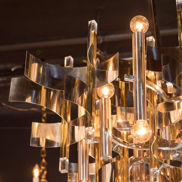 Italian Mid-Century Modern Brass, Chrome and Lucite Chandelier by Sciolari For Sale 2