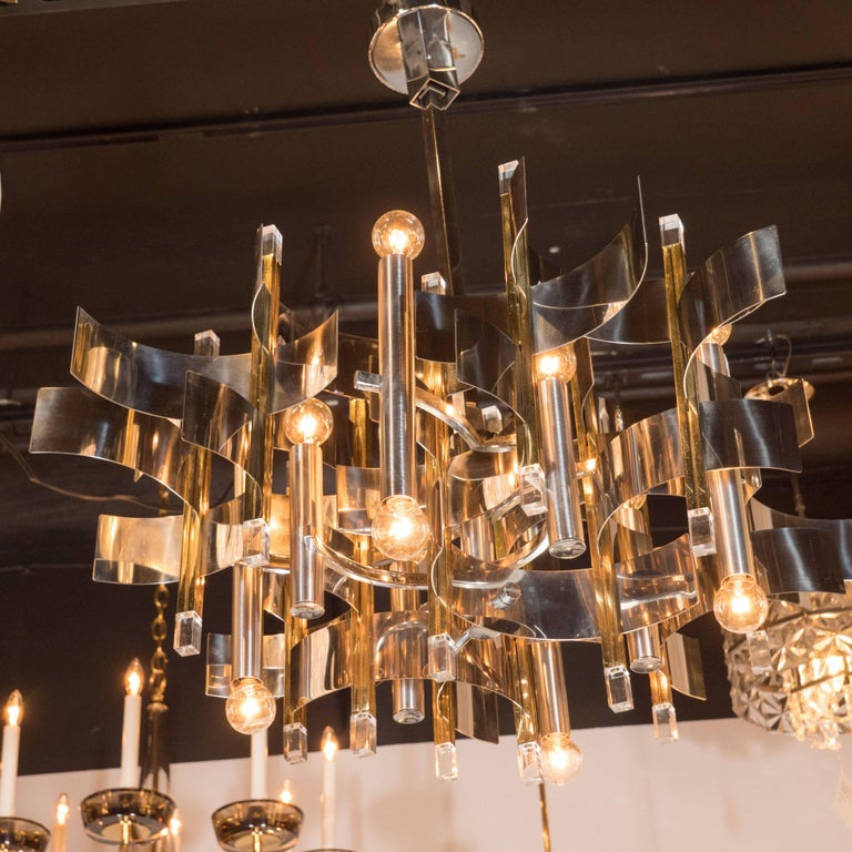 Polished Italian Mid-Century Modern Brass, Chrome and Lucite Chandelier by Sciolari For Sale