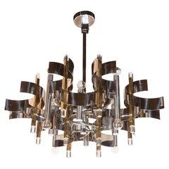 Italian Mid Century Modern Brass, Chrome and Lucite Chandelier by Sciolari