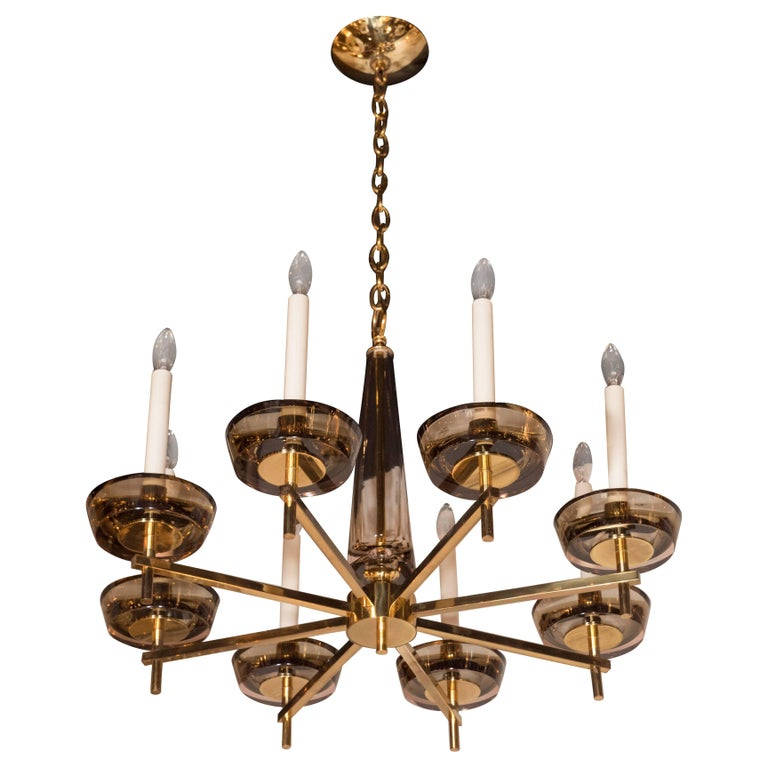 Mid-Century Modern Brass & Smoked Glass Eight-Arm Chandelier in Gio Ponti Manner