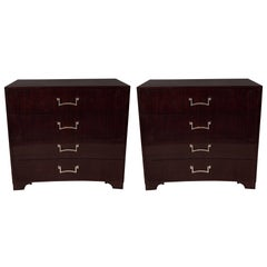 Pair of Signed Grosfeld House Ebonized Chests Designed by Lorin Jackson