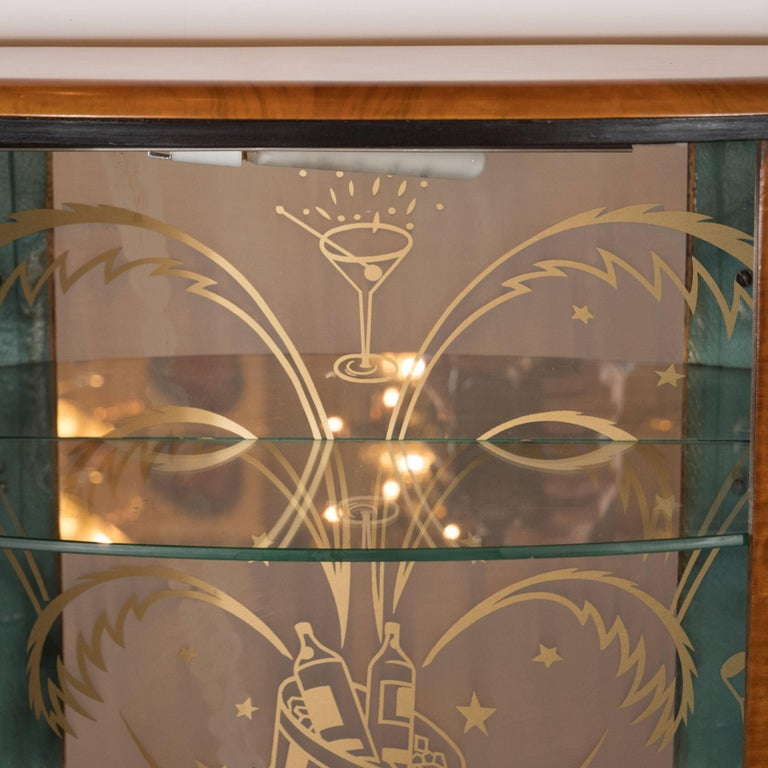 Art Deco Skyscraper Style Bookmatched Bar Cabinet with Antiqued Nickel Pulls For Sale 1