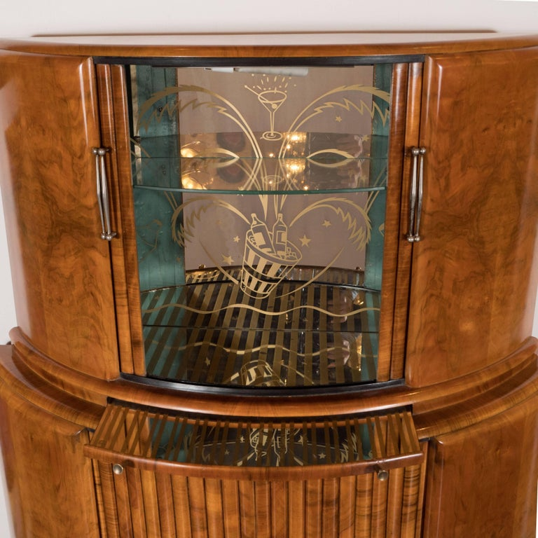 Mid-20th Century Art Deco Skyscraper Style Bookmatched Bar Cabinet with Antiqued Nickel Pulls For Sale