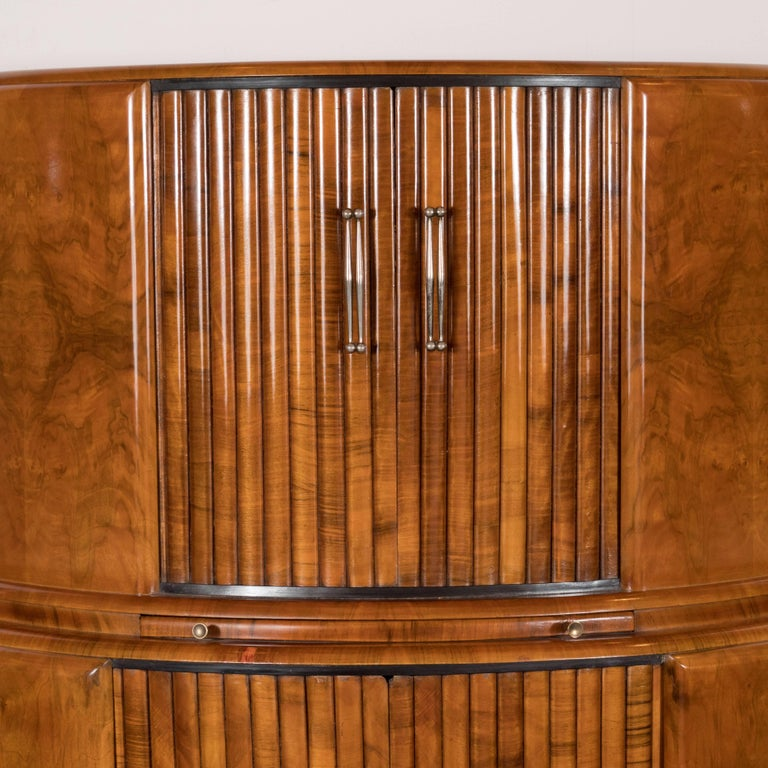 Art Deco Skyscraper Style Bookmatched Bar Cabinet with Antiqued Nickel Pulls In Excellent Condition For Sale In New York, NY