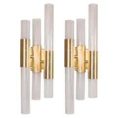Pair of Modernist Pulegoso Sconces with Handblown Murano Shades & Brushed Brass
