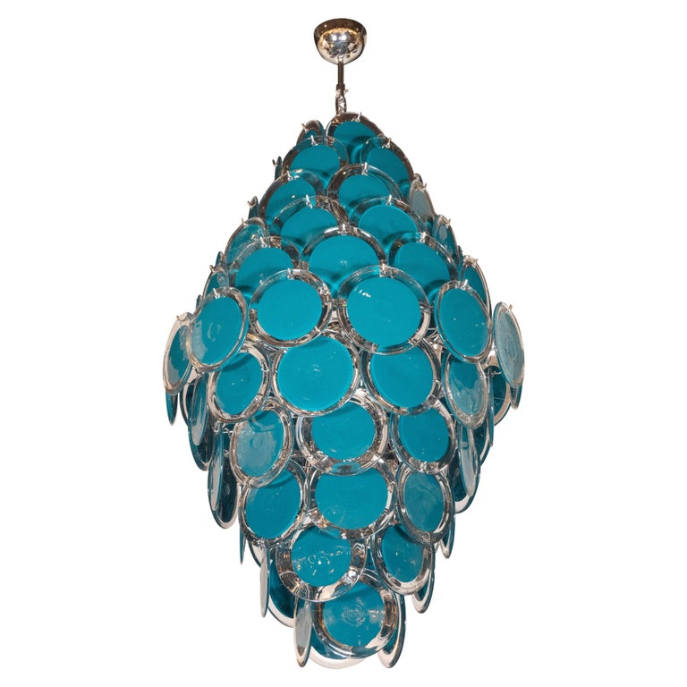 Modernist Chrome Murano Vistosi Chandelier with Cerulean Blue and Clear Discs