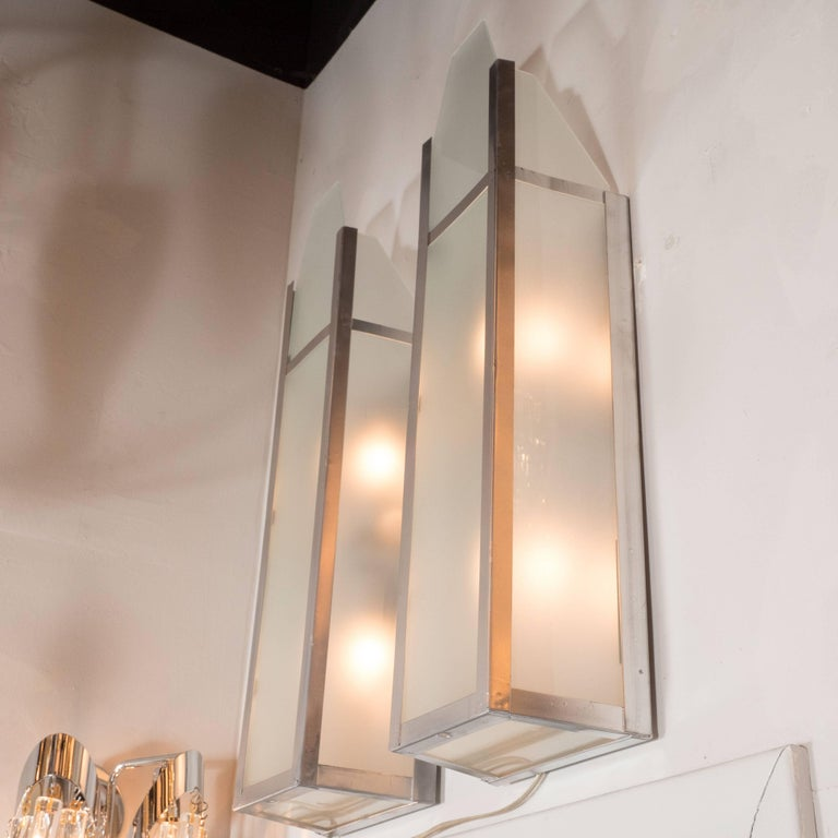 American Art Deco Skyscraper Style Machine Age Polished Aluminum & Frosted Glass Sconces For Sale
