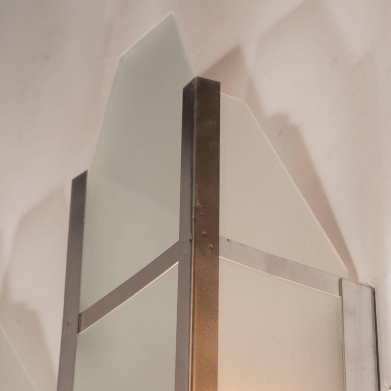 Art Deco Skyscraper Style Machine Age Polished Aluminum & Frosted Glass Sconces For Sale 1