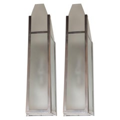 Art Deco Skyscraper Style Machine Age Polished Aluminum & Frosted Glass Sconces