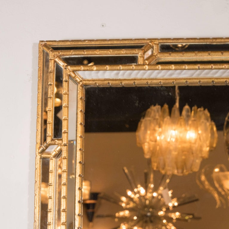 Mid-Century Modern Modernist Venetian Style Mirror in Gilded Mirror with Ribbed Mosaic Border For Sale