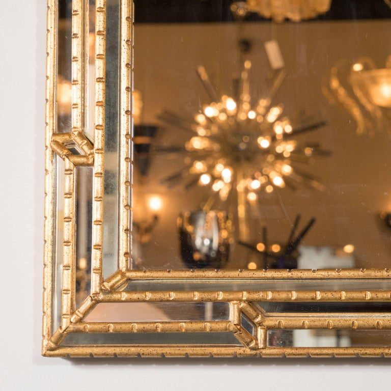 Modernist Venetian Style Mirror in Gilded Mirror with Ribbed Mosaic Border In Excellent Condition For Sale In New York, NY