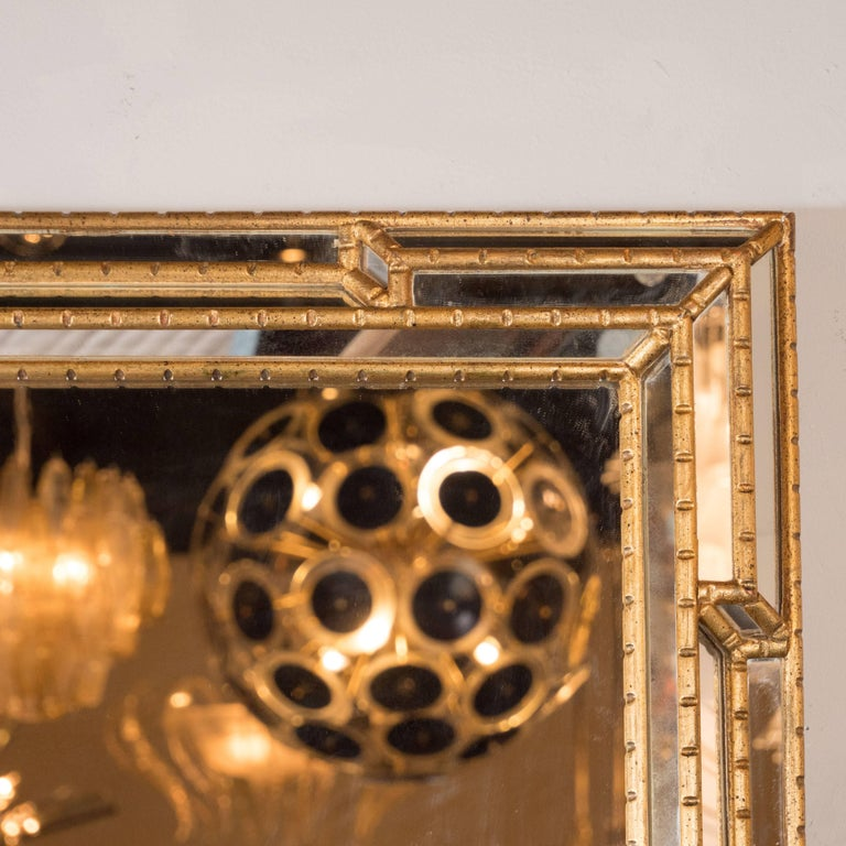 American Modernist Venetian Style Mirror in Gilded Mirror with Ribbed Mosaic Border For Sale