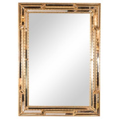 Modernist Venetian Style Mirror in Gilded Mirror with Ribbed Mosaic Border